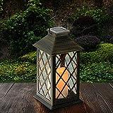 Solar Laterne, Tomshine Solarlaterne mit Kerzen Lichteffekt, Solarlampe für Außen Gartendeko Solar...