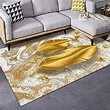 Outdoor teppiche Wohnzimmer Teppich Gelb großes Blatt Muster Wasserwäsche Teppichschlag...
