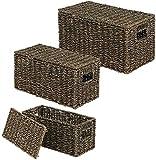 hhkty Set von 3 Speicherkörben □ stilvolle Seegrasskörbe mit Deckel □ Regalkorb mit Griffen...