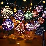 NLNEY LED Solar Marokkanische Lichterketten Außen, 7M 50er Goldene hohle Lichterkette Aussen, 8modi...