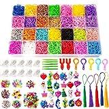 SAVITA Loom Bnder Set fr Armband Herstellung, 11000 Loom Bands( 28 Farben) mit 5 Hkelnadeln, 5...