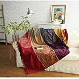 SHANNA Chenille-berwurfdecke, Vintage-Jacquard-Quasten, doppelseitig, Patchwork-Decke, warm,...