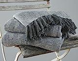 EHC Tagesdecke, King Size, Fischgrätendesign, 100 % Baumwolle, Überwurf für Sofa / Bett, 220 x...