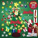 Reccisokz FR DIY Filz Weihnachtsbaum 3.1ft mit 30 Ornamenten Wandbehang mit 12.7ft / 50 LED-Leuchten...