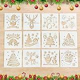 12 Stück Schablonen Weihnachten Kinder,Kunststoff Zeichnung Malerei Schablone,Schablone Weihnachten...