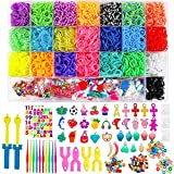 BAKHK DIY Gummibänder Set zum Basteln, 6800 Bunt Gummibänder Starter Box 100 S-Clips, 100 Perlen,...