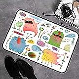 Memory Foam Badezimmer,Monster, süße fremde Kreaturen lachen Design mit Blumen Kinder Cartoon...