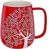 amapodo Kaffeetasse groß aus Porzellan mit Henkel 600ml Keramiktasse Büro Rot Geschenke für...