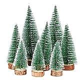 FLOFIA 8 TLG. 3 Größe Mini Weihnachtsbaum Künstlich Miniatur Tannenbaum Grün Mini Christbaum...