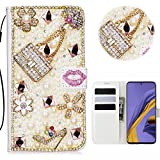 Samsung Galaxy A51 Glitter Hülle Case,3D Handtasche Absatz Lippe Strass Diamant Weiße Ledertasche...