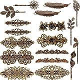 18 Stücke Französisch Haarspangen Retro Vintage Bronze Rosen Blume Blatt Wellen Federn Kronen...
