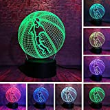 3D LED Optische Unschärfe Lampe Nachtlicht Sport Basketball Junge 16 Farben Schalter USB Bett Bett...
