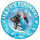 Essbarer Fondant Tortenaufsatz, Happy Birthday, vorgestanzt Frozen Die Eiskönigin T 139