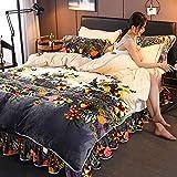 RESUXI bettbezug 220x240,Winter Dicke warme Koralle Fleece Bett Rock doppelseitige Fleece Bettdecke...