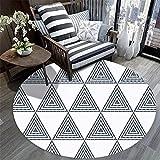 WQ-BBB Teppich Super Weich haarloses Luxuriös Einfaches weißes rundes teppch geometrisches Schwarz...