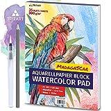 Tritart HOCHWERTIGES Aquarellpapier A3 | 300g | Weiß | 35 Blatt | A3 Aquarellblock inkl. Water...