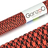 Paracord 550 Seil Rot   Schwarz   31 Meter Nylon-Seil mit 7 Kern-Stränge   für Armband   Knüpfen...