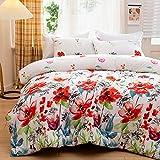 Steppdecke 220x240 Microfaser Ganjahresdecke Floral Bunt Bettdecke Atmungsaktive Zudecke Blumen...