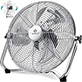 KESSER® Windmaschine Retro Stil | 30cm Ventilator in Chrom | Standventilator | Tischventilator...