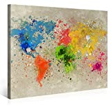 Gallery of Innovative Art Premium Leinwanddruck 100x75cm – Weltkarte Aquarell Explosion –...