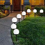 FLOWood Solar Gartenleuchte wasserdicht Solarlampe für Garten Außen LED Kugel mit Erdspieß...