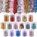 Koogel 16 Farben Glitzer Set, Glitzerpulver Sequin Chunky Glitter Körper Glitzer für Nagelkunst...