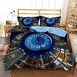 Bedclothes-Blanket 3D bettbezug Set,3D Bett Einzelbettwäsche-Quilt-Set dreiteilige Uhr-200 * 200_5.