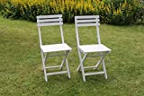 2er Set BISTRO Klappstuhl für Garten, Terrasse und Balkon FSC 100% Eukalyptusholz - weiß gewischt