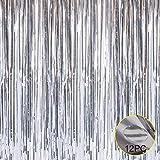 Folie Fransen Metallic Vorhang Hintergründen–mit Ballon Sticks 3,3ftx6.6ft Lametta...