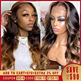 Human Hair Wigs Black Women Honey Blonde Highlighted Wigs Long Body Wave Remy Preplucked Ombre Brown...