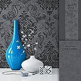 NEWROOM Barocktapete Tapete Schwarz Grau Ornament Barock Modern Vliestapete Vlies moderne Design...
