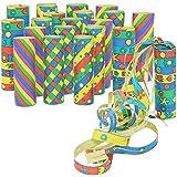 com-four® 20x kleine Luftschlangen Rollen in verschiedenen Mustern als Party Deko für Geburtstage...