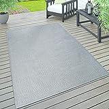 Paco Home In- & Outdoor Teppich, Terrasse u. Balkon, Wetterfest Einfarbig Mit Struktur,...