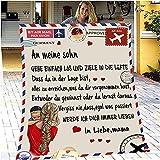 Personalisierte Flanell Fleece Decke, Super Weiche Luftpost Nachricht Brief Flauschige Kuscheldecke,...