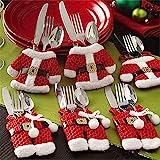 Weihnachten Besteckhalter Bestecktasche 6pcs Sankt-Klage Weihnachtsdeko Weihnachten Dekoration...