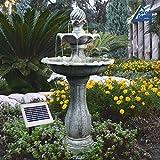 AMUR Solar Gartenbrunnen, Brunnen, Solarbrunnen Zierbrunnen Wasserfall Gartenleuchte Teichpumpe fr...