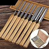 8 Stück Holz Drechselwerkzeug Schnitzwerkzeuge, Drechselmesser Set, Drechseleisen Drehmeißel,...