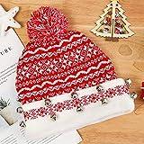 TOZCDAW Weihnachtsfeier Hut-Gestrickte Weihnachtsmütze, Perfekte Weihnachtsverzierung-Glocke Rot