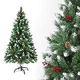 Sunjas Weihnachtsbaum künstlich, 120/150/180/210 cm mit Tannenzapfen, Tannenbaum mit Schnee-Effekt...