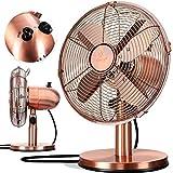 KESSER - Tischventilator Design Retro Voll-Metallgehäuse 80° Oszillation - leise Ventilator mit 3...