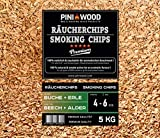 PINI 5 Kg Räucherchips Buche und Erle gemischt 4-6 mm Smoking Chips Räucherspäne 18 Liter