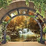 Fototapete Tapete Vlies Latexdruck Wasserfall Fenster Landschaft Natur Wohnzimmer Schlafzimmer...