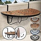 Mosaik Hängetisch - halbrund, klappbar, aus Metall und Keramik, max. 20 kg, 76 x 38 x 47,5 cm,...
