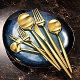 qwertyuiop Goldenes Geschirrset aus westlichem Edelstahlgeschirr-Dessertmesser
