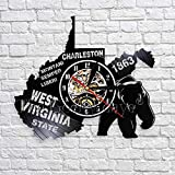 JNZART Groes Siegel des Staates West Virginia Wandkunst-Dekor-Kartenuhren Vinyl-Wanduhr...
