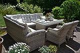 bomey Rattan Lounge Set I Gartenmöbel Set Manhattan C-2 4-Teilig I Gartensofa Grau + Tisch + 2...