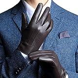 FLY HAWK Winter Handschuhe aus Echtem Leder Herren Lederhandschuhe für Touch Screen geeignet, warm...