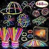 Kimimara 200 Knicklichter, 200 Leuchtstäbe Party Pack inkl mit 268 Verbinder, Glowstick Verbinder...
