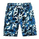 Echinodon Jungen Badehose Badeshorts Camouflage Sweatshorts Urlaub Strand-Shorts Blau XXL