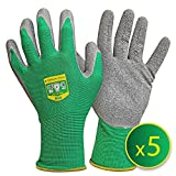 GRNTEK 5 Paar Frauen Gartenhandschuhe M mit LATEX-Beschichtung, geeignet fr den privaten und...